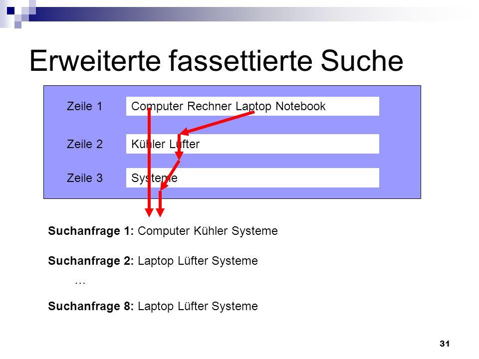 31 Erweiterte fassettierte Suche Computer Rechner Laptop Notebook Kühler Lüfter Systeme Zeile 1 Zeile 2 Zeile 3 Suchanfrage 1: Computer Kühler Systeme
