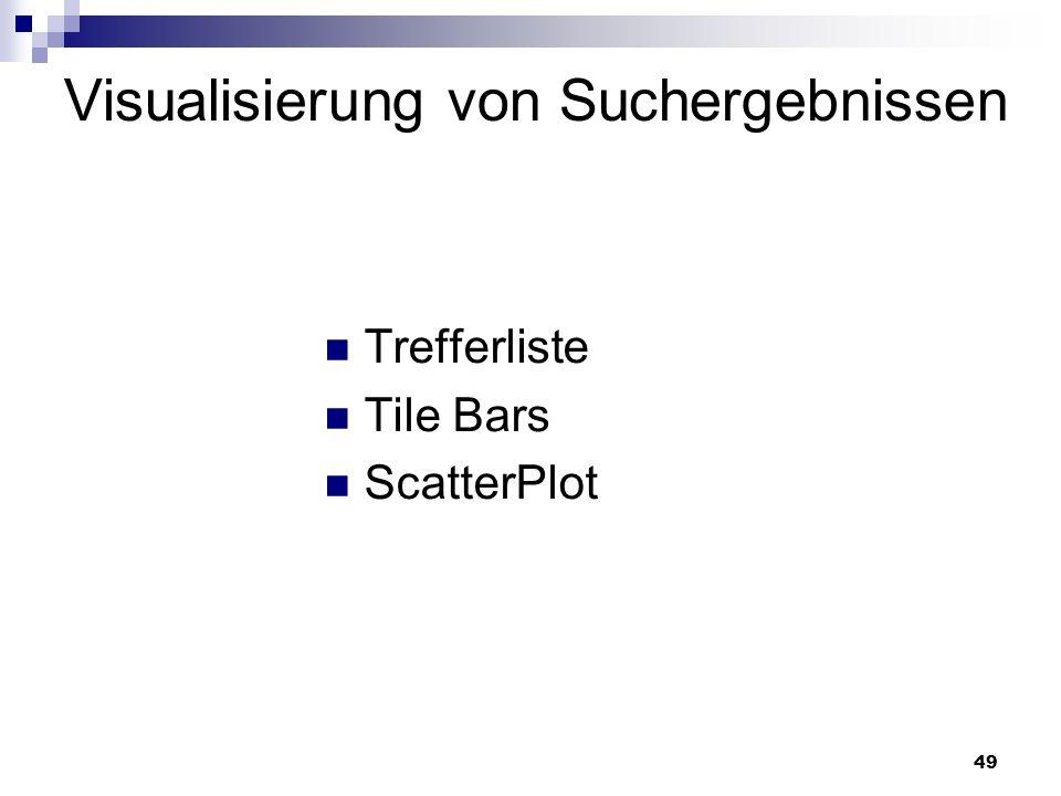 49 Visualisierung von Suchergebnissen Trefferliste Tile Bars ScatterPlot