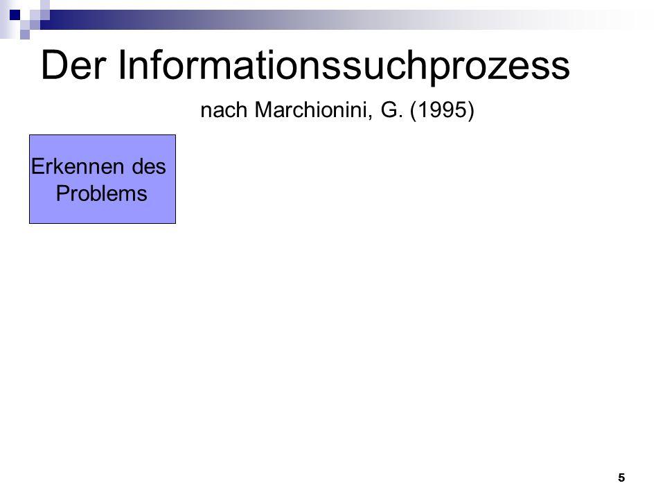 5 Der Informationssuchprozess nach Marchionini, G. (1995) Erkennen des Problems