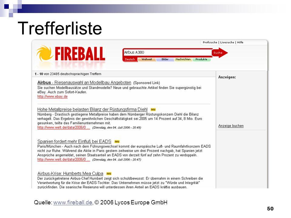 50 Trefferliste Quelle: www.fireball.de, © 2006 Lycos Europe GmbHwww.fireball.de