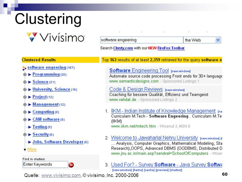 60 Clustering Quelle: www.vivisimo.com, © vivisimo, Inc. 2000-2006www.vivisimo.com