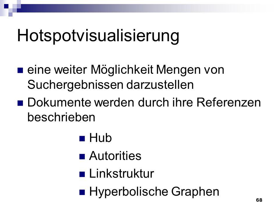 68 Hotspotvisualisierung eine weiter Möglichkeit Mengen von Suchergebnissen darzustellen Dokumente werden durch ihre Referenzen beschrieben Hub Autori