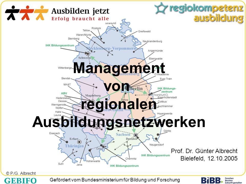 Gefördert vom Bundesministerium für Bildung und Forschung Management von regionalen Ausbildungsnetzwerken Prof. Dr. Günter Albrecht Bielefeld, 12.10.2