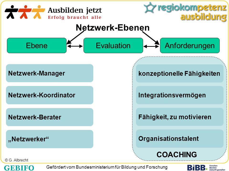 Gefördert vom Bundesministerium für Bildung und Forschung © G. Albrecht Netzwerk-Ebenen Integrationsvermögenkonzeptionelle FähigkeitenFähigkeit, zu mo