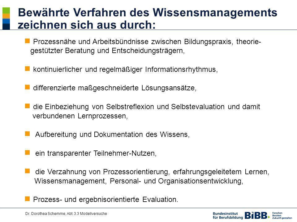 Dr. Dorothea Schemme, Abt. 3.3 Modellversuche Bewährte Verfahren des Wissensmanagements zeichnen sich aus durch: Prozessnähe und Arbeitsbündnisse zwis