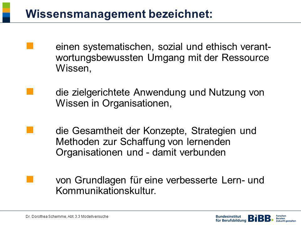 Dr. Dorothea Schemme, Abt. 3.3 Modellversuche Wissensmanagement bezeichnet: einen systematischen, sozial und ethisch verant- wortungsbewussten Umgang