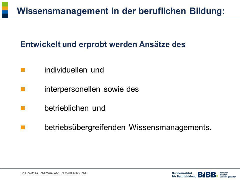 Dr. Dorothea Schemme, Abt. 3.3 Modellversuche Wissensmanagement in der beruflichen Bildung: Entwickelt und erprobt werden Ansätze des individuellen un