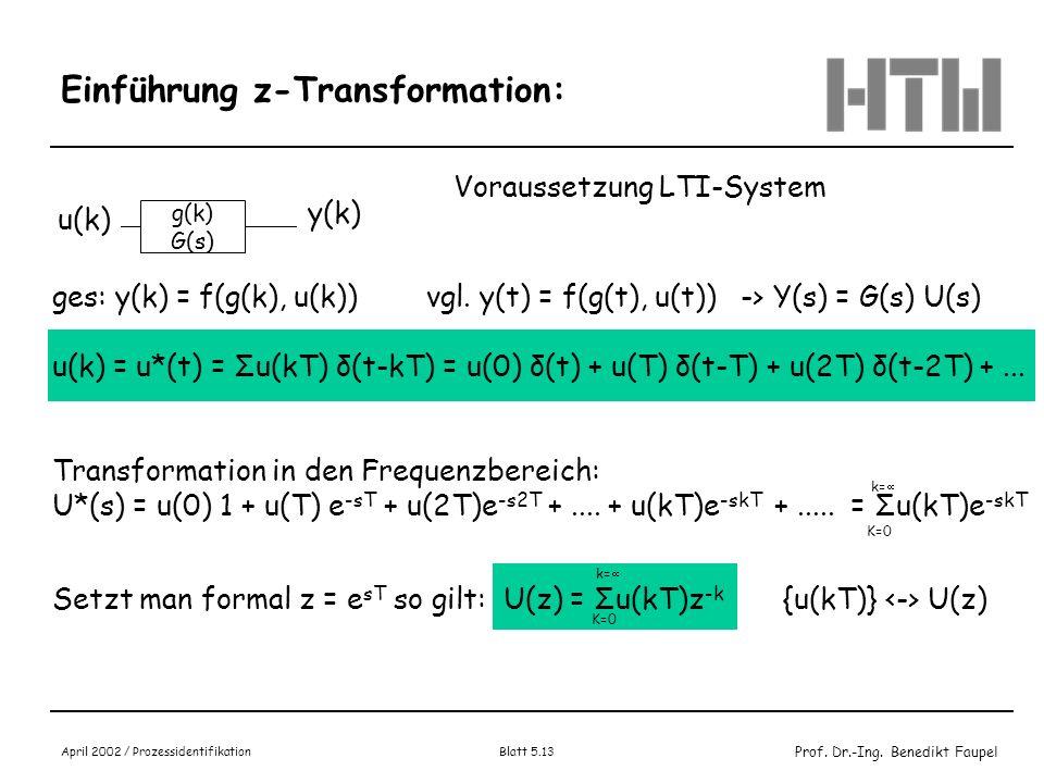 Prof. Dr.-Ing. Benedikt Faupel April 2002 / Prozessidentifikation Blatt 5.13 Einführung z-Transformation: g(k) G(s) u(k) y(k) Voraussetzung LTI-System