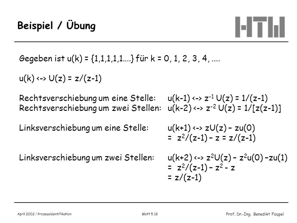 Prof. Dr.-Ing. Benedikt Faupel April 2002 / Prozessidentifikation Blatt 5.18 Beispiel / Übung Gegeben ist u(k) = {1,1,1,1,1....} für k = 0, 1, 2, 3, 4