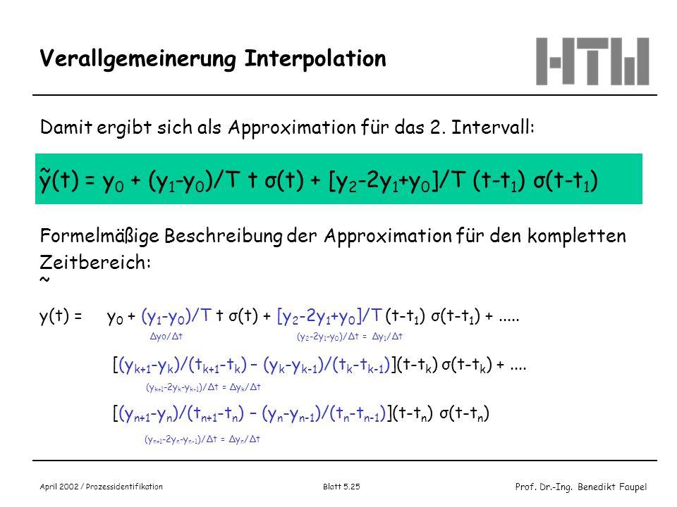 Prof. Dr.-Ing. Benedikt Faupel April 2002 / Prozessidentifikation Blatt 5.25 Verallgemeinerung Interpolation Damit ergibt sich als Approximation für d