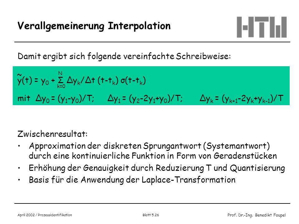 Prof. Dr.-Ing. Benedikt Faupel April 2002 / Prozessidentifikation Blatt 5.26 Verallgemeinerung Interpolation Damit ergibt sich folgende vereinfachte S
