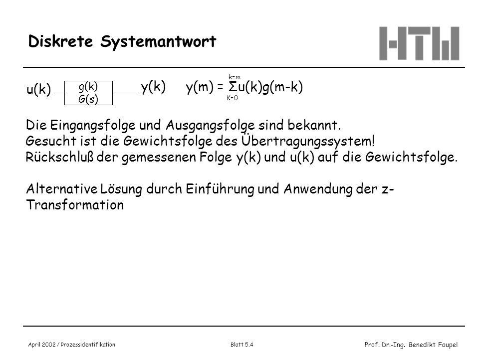Prof. Dr.-Ing. Benedikt Faupel April 2002 / Prozessidentifikation Blatt 5.4 Diskrete Systemantwort g(k) G(s) u(k) y(k) y(m) = Σu(k)g(m-k) K=0 k=m Die
