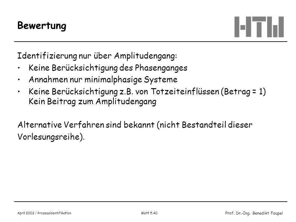 Prof. Dr.-Ing. Benedikt Faupel April 2002 / Prozessidentifikation Blatt 5.40 Bewertung Identifizierung nur über Amplitudengang: Keine Berücksichtigung