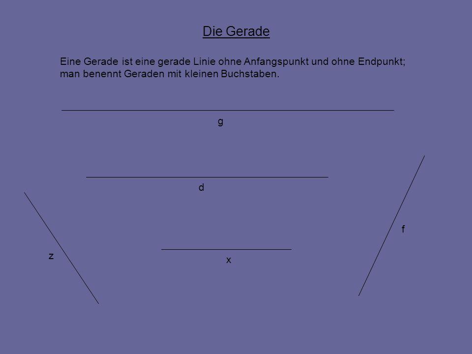 Die Gerade Eine Gerade ist eine gerade Linie ohne Anfangspunkt und ohne Endpunkt; man benennt Geraden mit kleinen Buchstaben. g d x f z