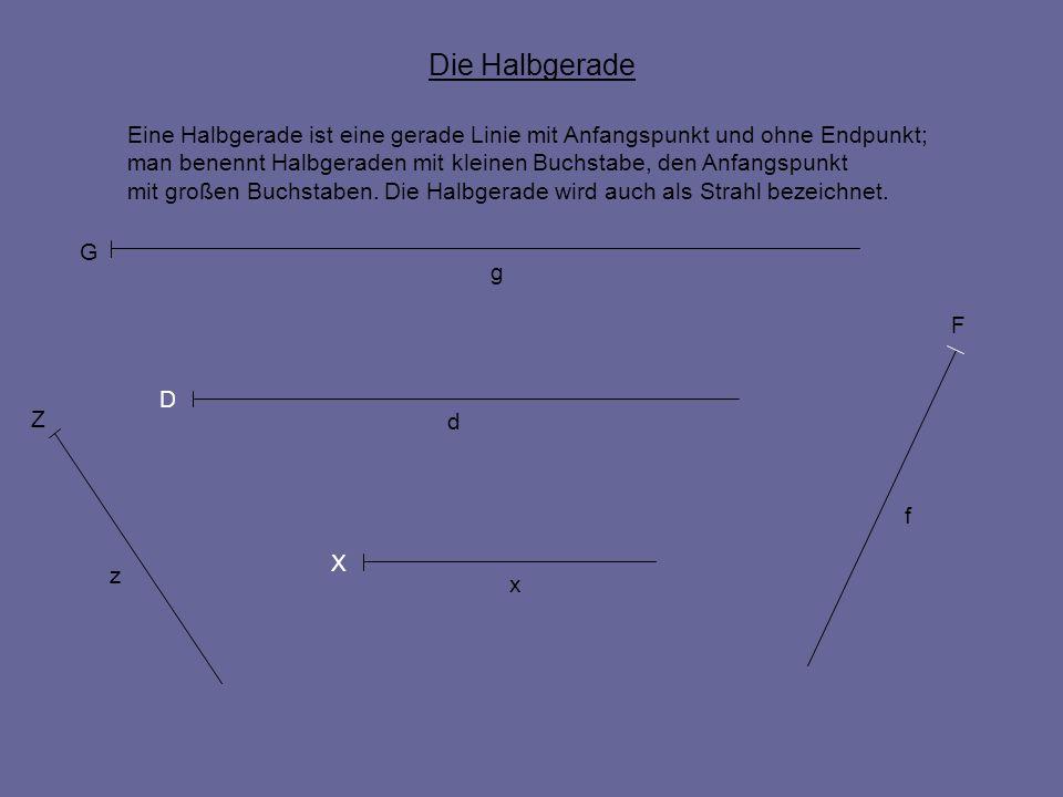 Die Halbgerade Eine Halbgerade ist eine gerade Linie mit Anfangspunkt und ohne Endpunkt; man benennt Halbgeraden mit kleinen Buchstabe, den Anfangspun