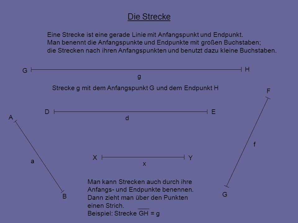 Die Strecke Eine Strecke ist eine gerade Linie mit Anfangspunkt und Endpunkt. Man benennt die Anfangspunkte und Endpunkte mit großen Buchstaben; die S