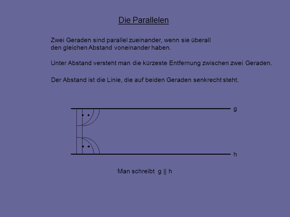 Die Parallelen Zwei Geraden sind parallel zueinander, wenn sie überall den gleichen Abstand voneinander haben. g h Man schreibt g || h Unter Abstand v