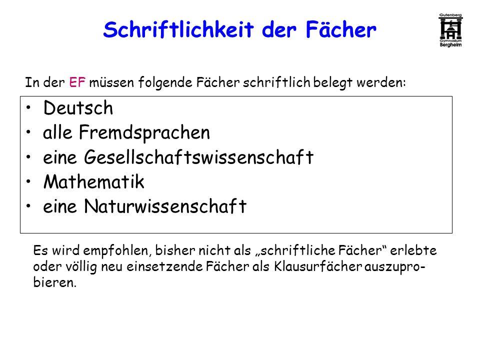 Schriftlichkeit der Fächer In der EF müssen folgende Fächer schriftlich belegt werden: Deutsch alle Fremdsprachen eine Gesellschaftswissenschaft Mathe