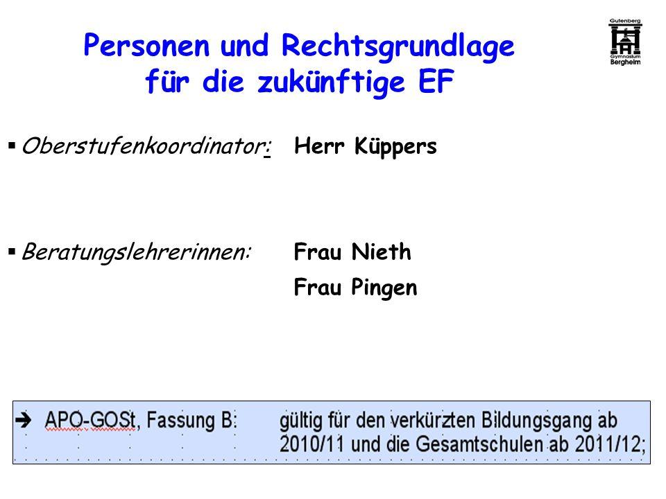 Personen und Rechtsgrundlage für die zukünftige EF Oberstufenkoordinator: Herr Küppers Beratungslehrerinnen:Frau Nieth Frau Pingen