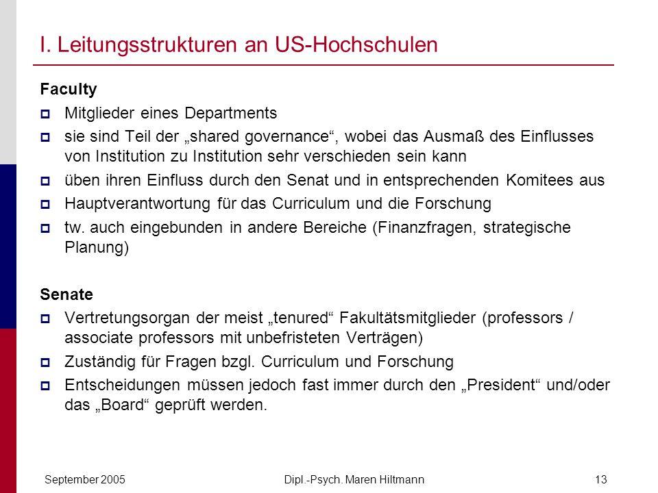 Dipl.-Psych. Maren HiltmannSeptember 200513 I. Leitungsstrukturen an US-Hochschulen Faculty Mitglieder eines Departments sie sind Teil der shared gove