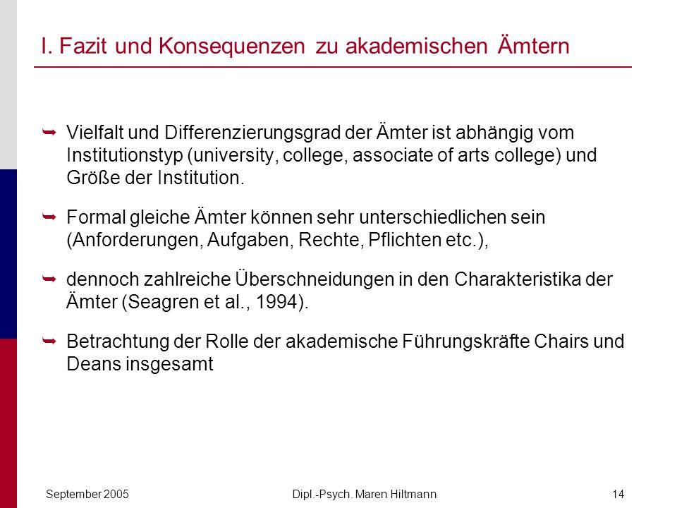 Dipl.-Psych. Maren HiltmannSeptember 200514 I. Fazit und Konsequenzen zu akademischen Ämtern Vielfalt und Differenzierungsgrad der Ämter ist abhängig