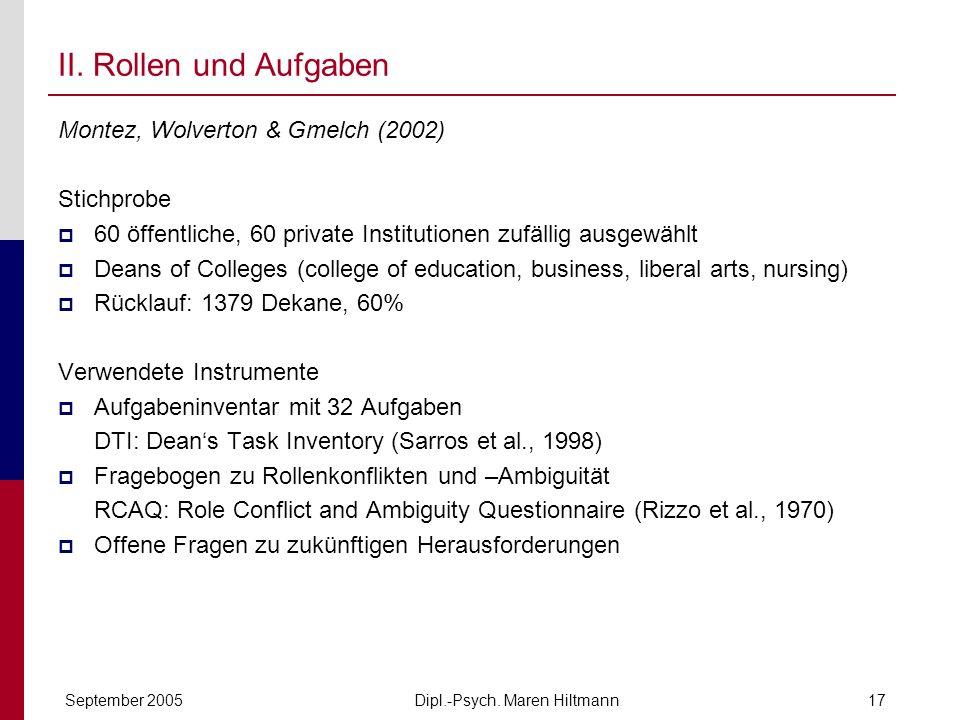 Dipl.-Psych. Maren HiltmannSeptember 200517 II. Rollen und Aufgaben Montez, Wolverton & Gmelch (2002) Stichprobe 60 öffentliche, 60 private Institutio