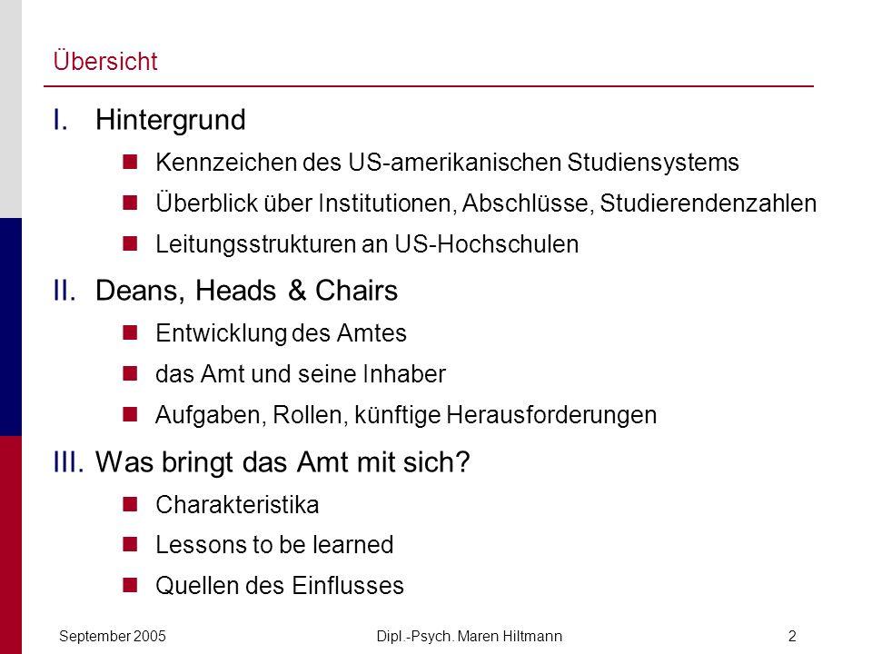 Dipl.-Psych. Maren HiltmannSeptember 20052 Übersicht I.Hintergrund Kennzeichen des US-amerikanischen Studiensystems Überblick über Institutionen, Absc