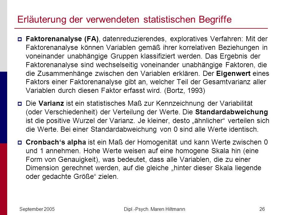 Dipl.-Psych. Maren HiltmannSeptember 200526 Erläuterung der verwendeten statistischen Begriffe Faktorenanalyse (FA), datenreduzierendes, exploratives