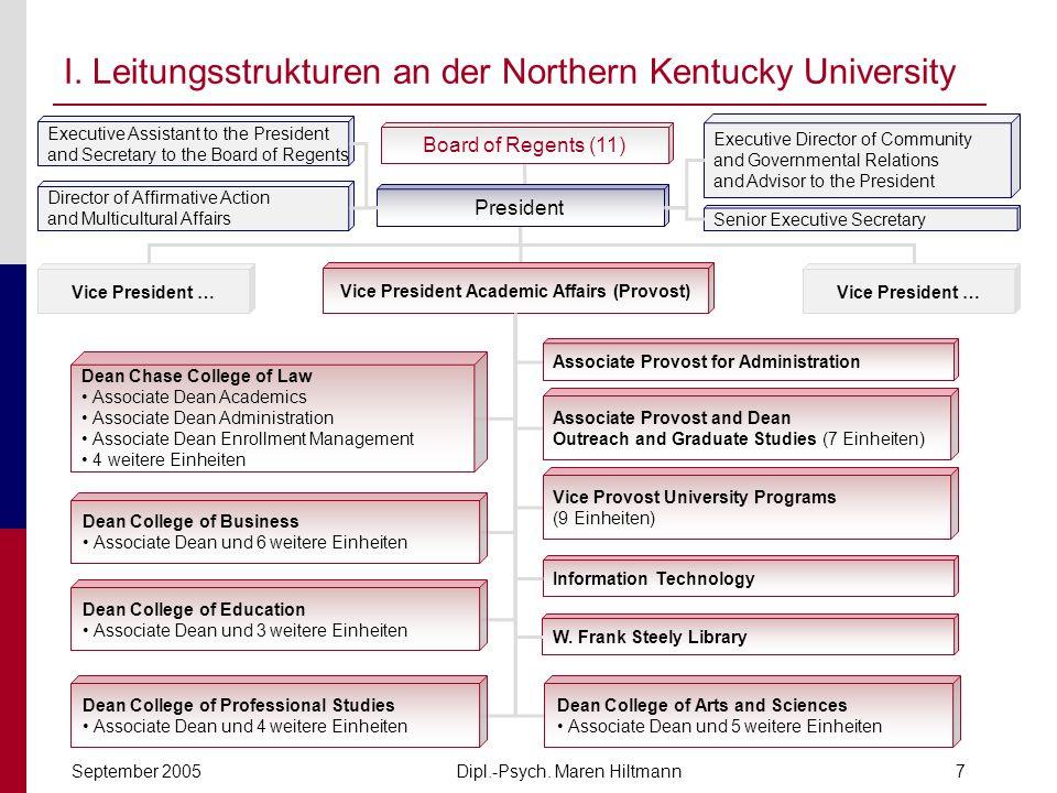 Dipl.-Psych. Maren HiltmannSeptember 20057 I. Leitungsstrukturen an der Northern Kentucky University Board of Regents (11) President Vice President …