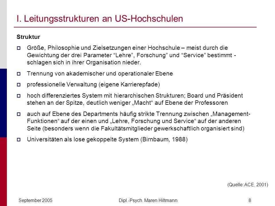 Dipl.-Psych. Maren HiltmannSeptember 20058 I. Leitungsstrukturen an US-Hochschulen Struktur Größe, Philosophie und Zielsetzungen einer Hochschule – me