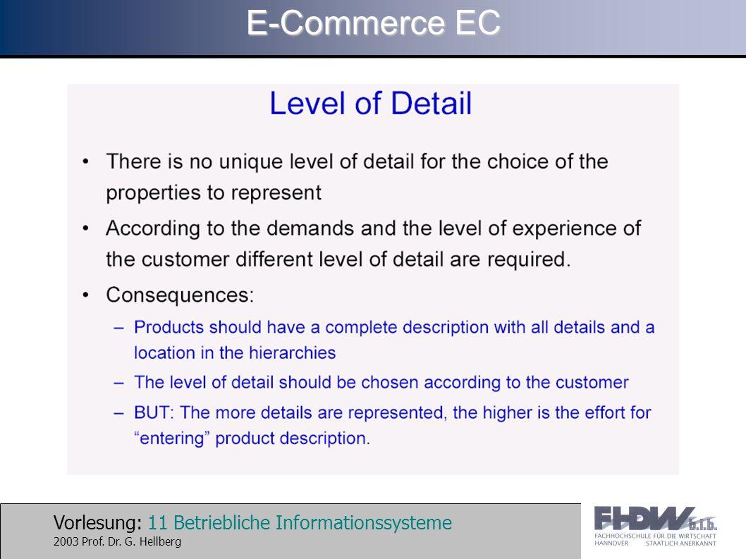 Vorlesung: 11 Betriebliche Informationssysteme 2003 Prof. Dr. G. Hellberg E-Commerce EC