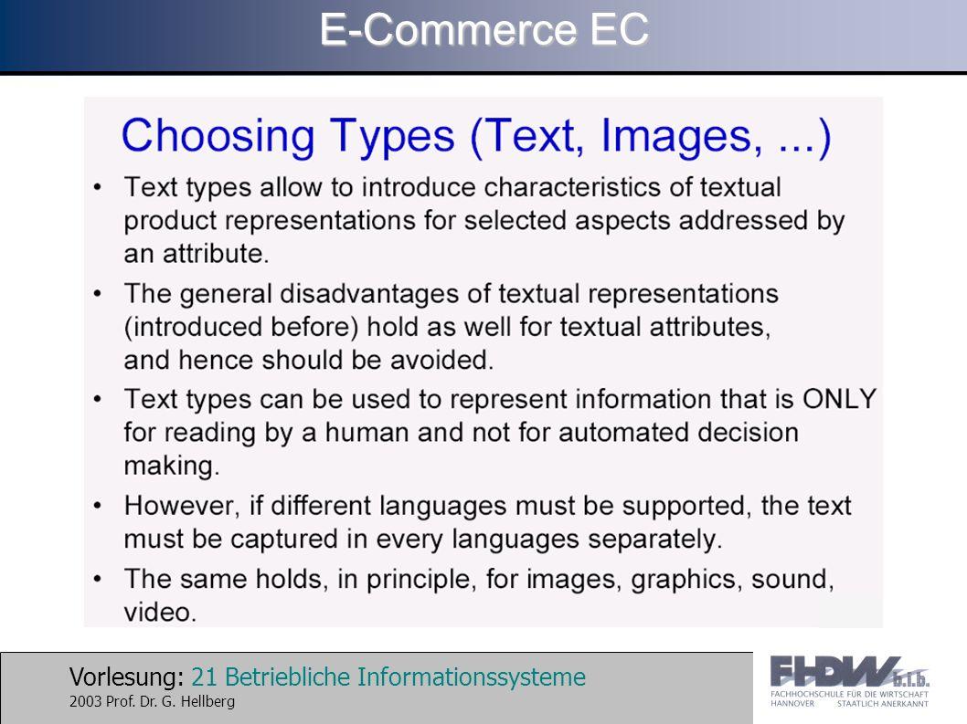 Vorlesung: 21 Betriebliche Informationssysteme 2003 Prof. Dr. G. Hellberg E-Commerce EC