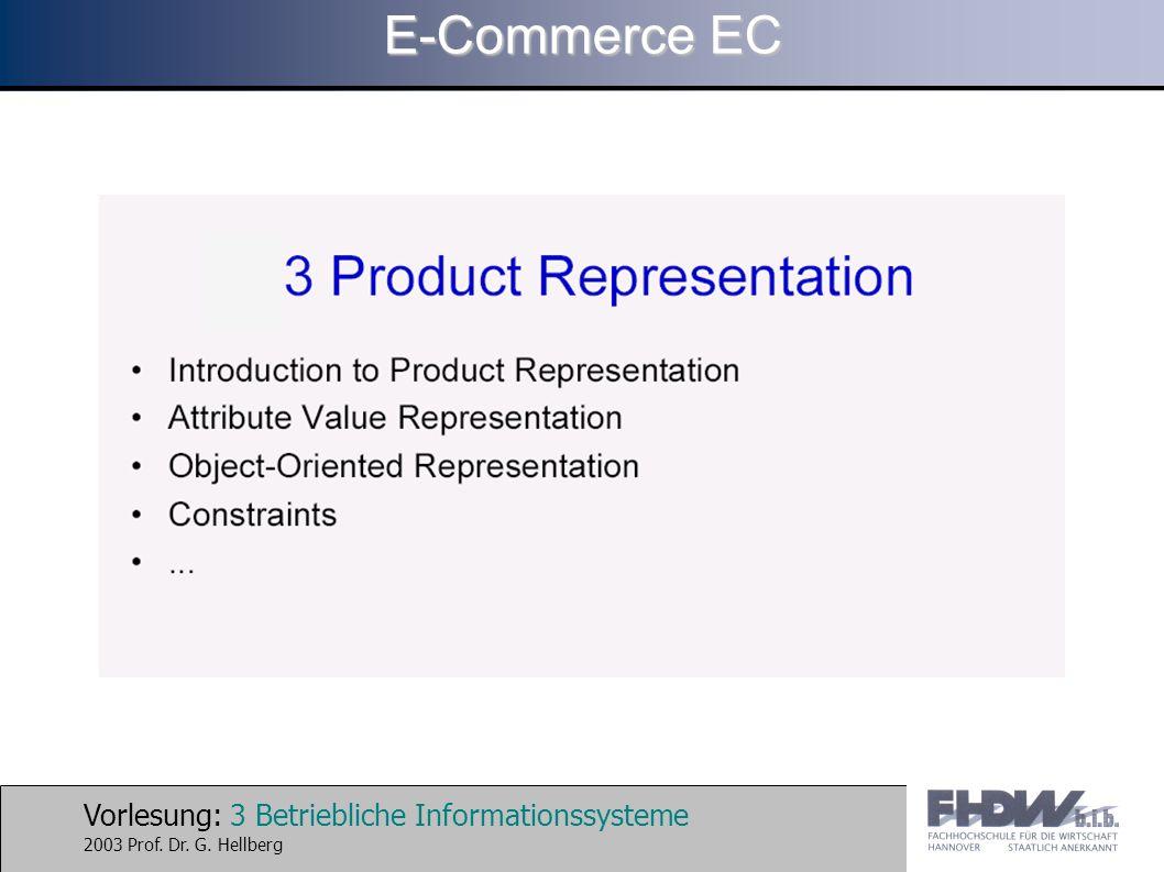 Vorlesung: 4 Betriebliche Informationssysteme 2003 Prof. Dr. G. Hellberg E-Commerce EC