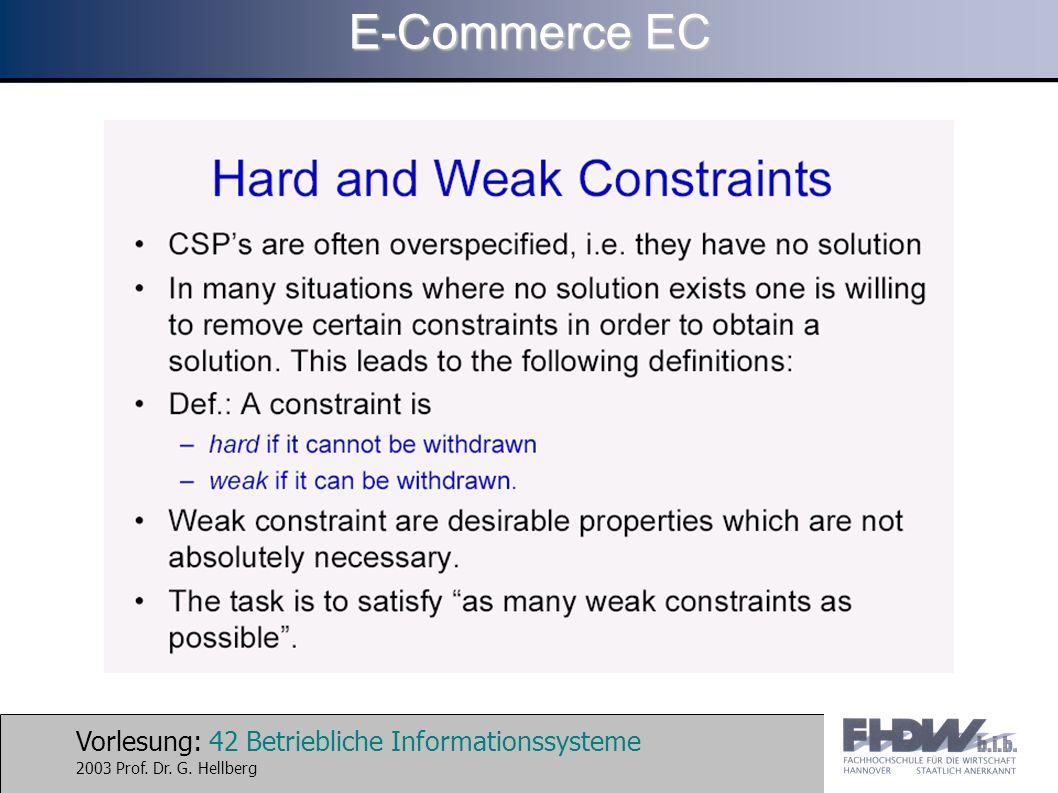 Vorlesung: 42 Betriebliche Informationssysteme 2003 Prof. Dr. G. Hellberg E-Commerce EC