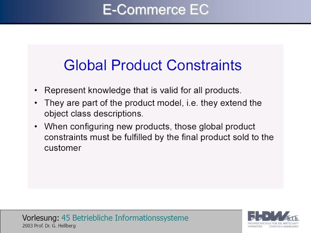 Vorlesung: 45 Betriebliche Informationssysteme 2003 Prof. Dr. G. Hellberg E-Commerce EC