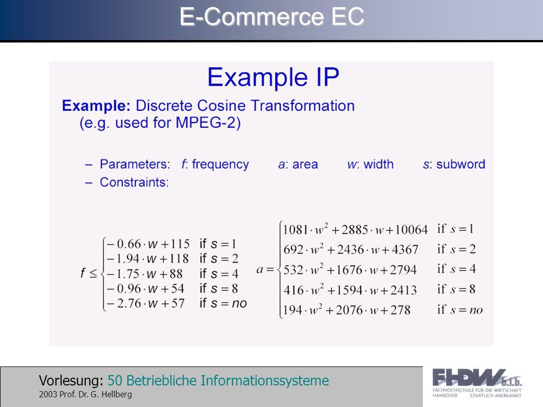 Vorlesung: 50 Betriebliche Informationssysteme 2003 Prof. Dr. G. Hellberg E-Commerce EC