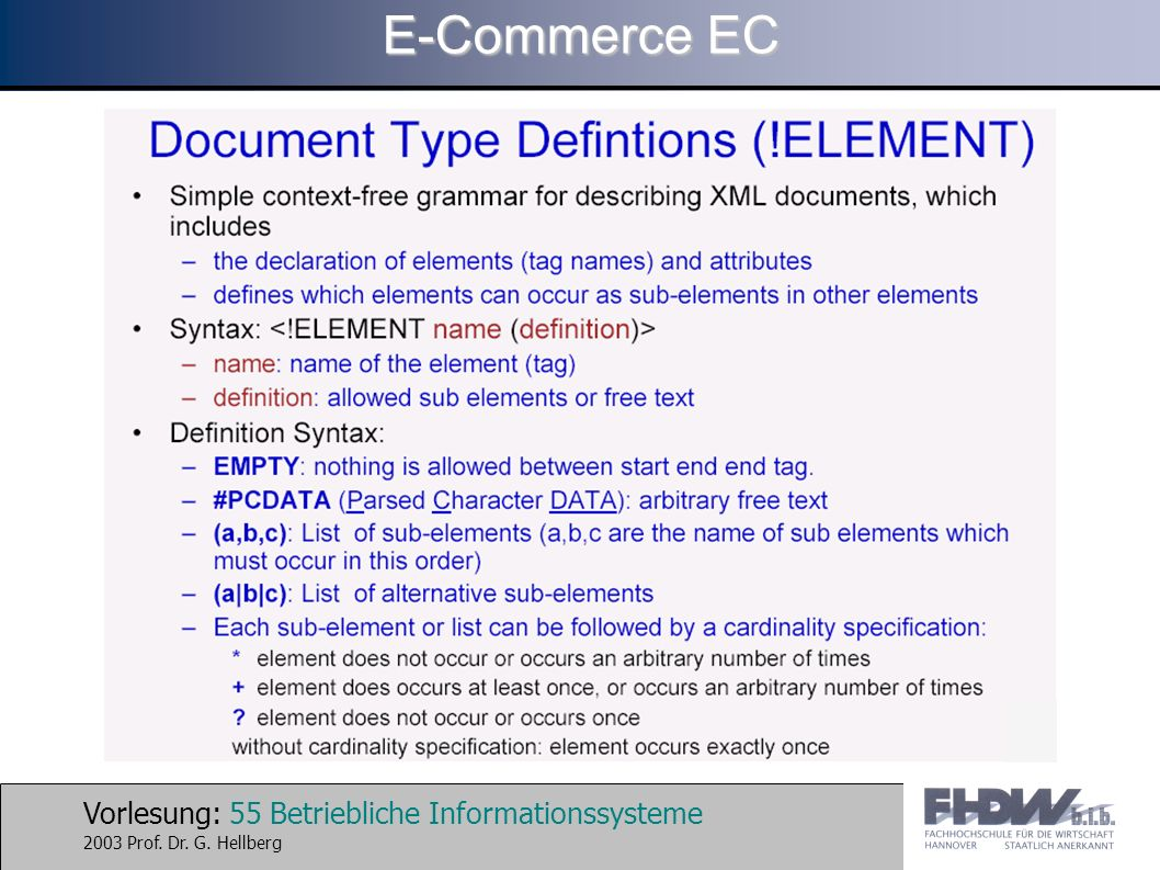 Vorlesung: 55 Betriebliche Informationssysteme 2003 Prof. Dr. G. Hellberg E-Commerce EC