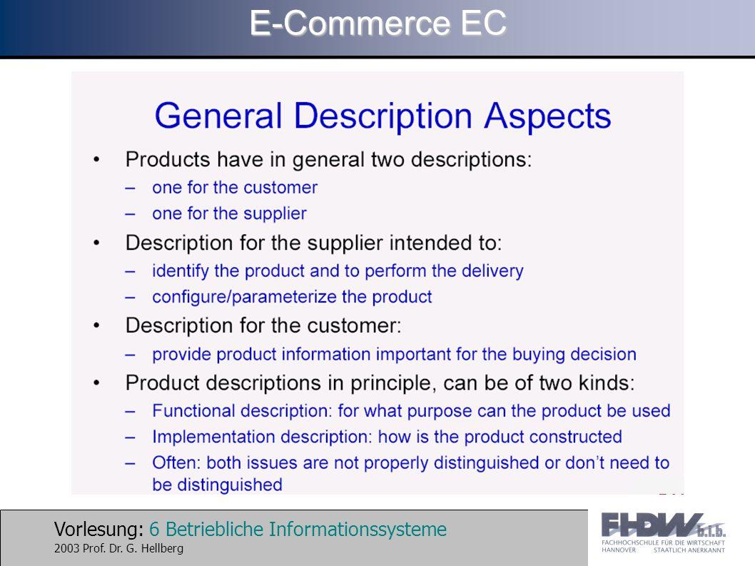 Vorlesung: 67 Betriebliche Informationssysteme 2003 Prof. Dr. G. Hellberg E-Commerce EC