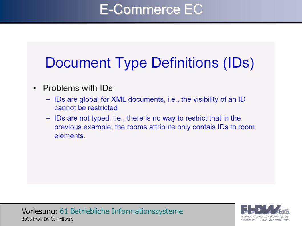 Vorlesung: 61 Betriebliche Informationssysteme 2003 Prof. Dr. G. Hellberg E-Commerce EC