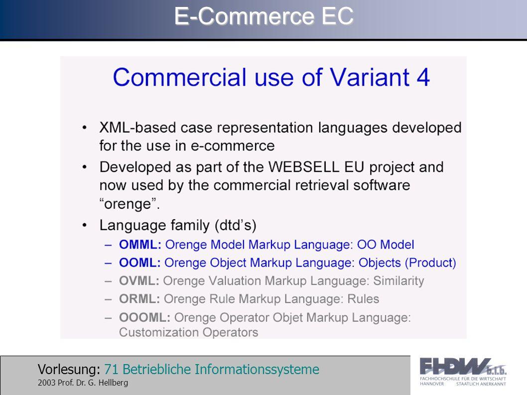 Vorlesung: 71 Betriebliche Informationssysteme 2003 Prof. Dr. G. Hellberg E-Commerce EC