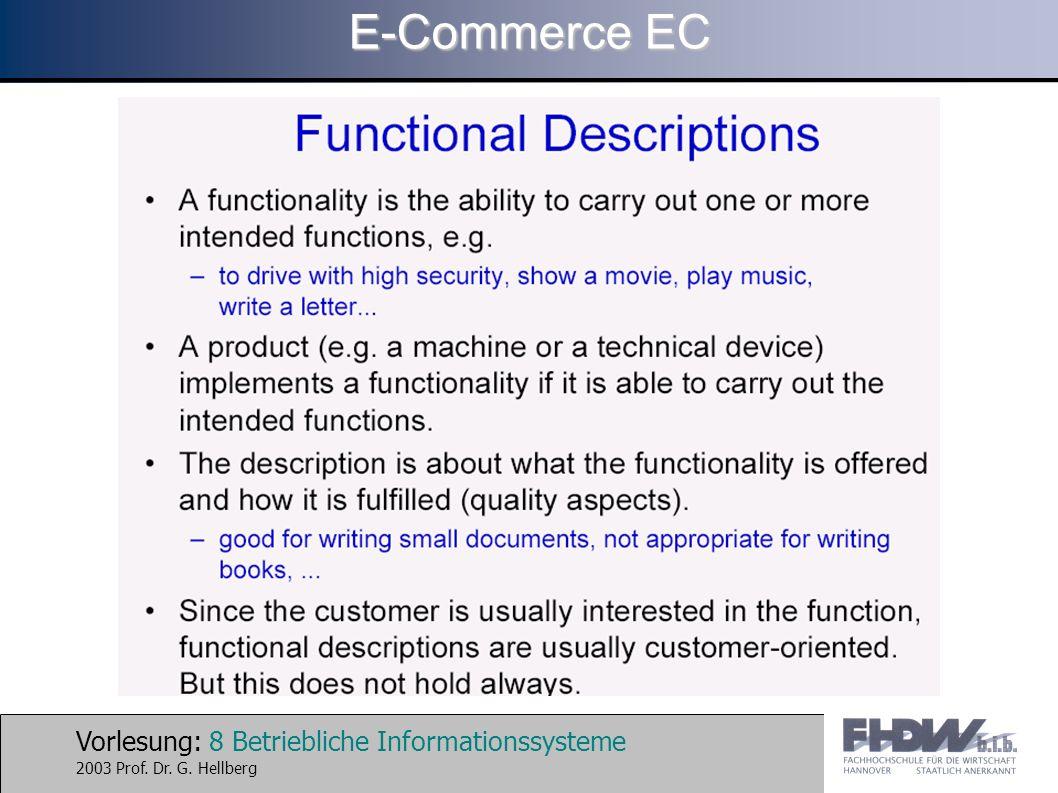 Vorlesung: 9 Betriebliche Informationssysteme 2003 Prof. Dr. G. Hellberg E-Commerce EC
