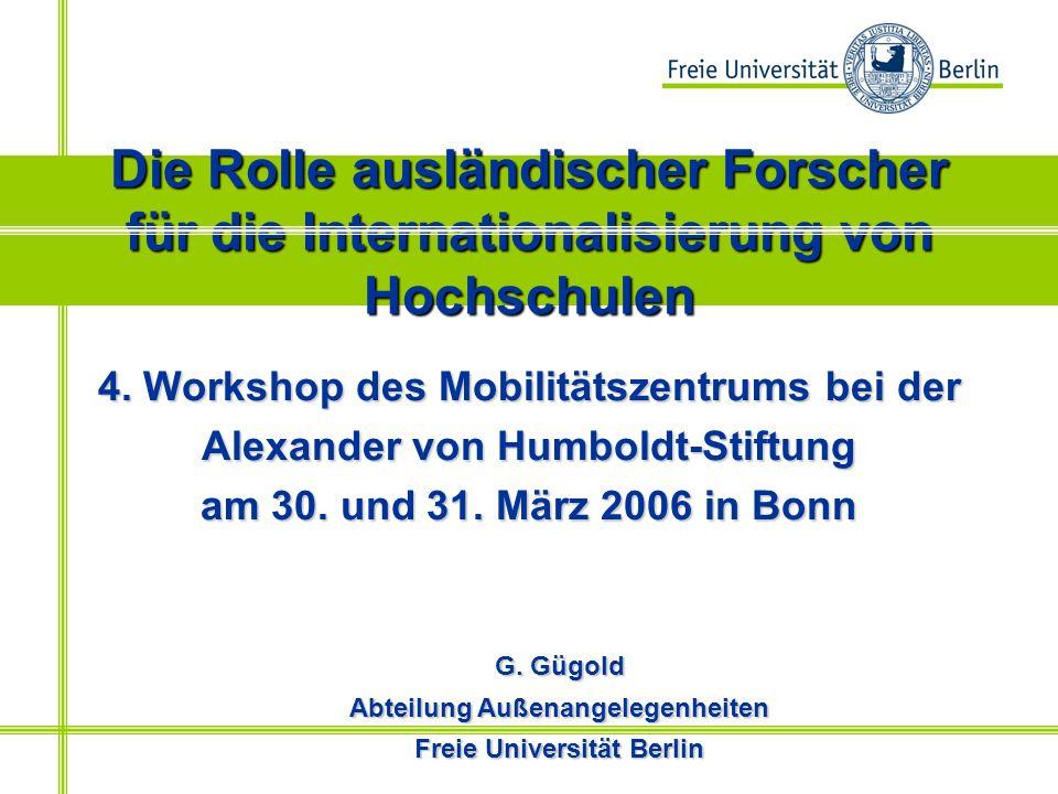 Die Rolle ausländischer Forscher für die Internationalisierung von Hochschulen 4.