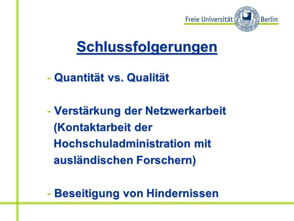 Schlussfolgerungen - Quantität vs.