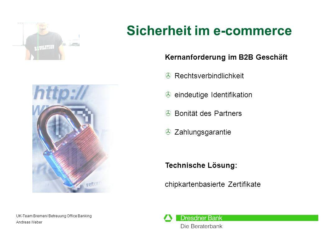 UK-Team Bremen/ Betreuung Office Banking Andreas Weber Kernanforderung im B2B Geschäft Rechtsverbindlichkeit eindeutige Identifikation Bonität des Par