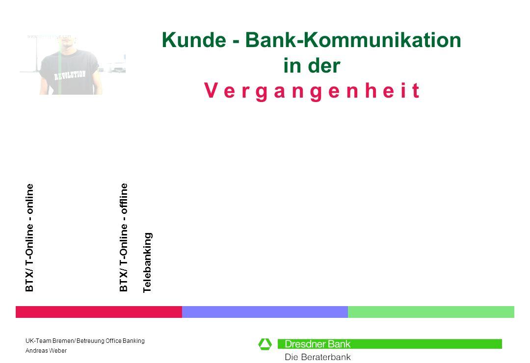UK-Team Bremen/ Betreuung Office Banking Andreas Weber Kunde - Bank-Kommunikation in der V e r g a n g e n h e i t BTX/ T-Online - online BTX/ T-Onlin