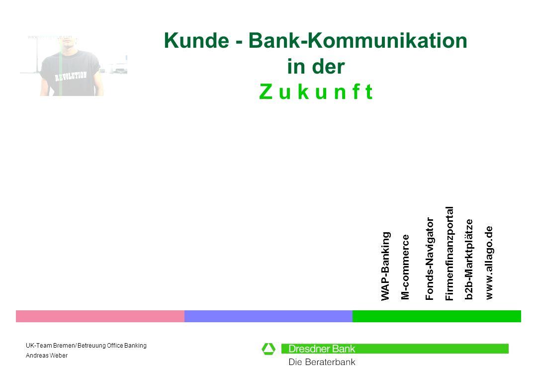 UK-Team Bremen/ Betreuung Office Banking Andreas Weber Kunde - Bank-Kommunikation in der Z u k u n f t FirmenfinanzportalFonds-Navigator b2b-Marktplät