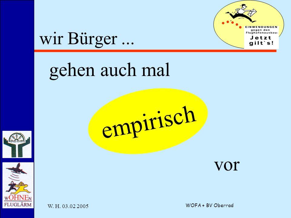 W. H. 03.02 2005 WOFA + BV Oberrad wir Bürger... gehen auch mal empirisch vor