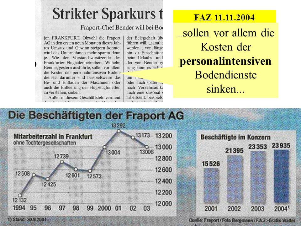 FAZ 11.11.2004... sollen vor allem die Kosten der personalintensiven Bodendienste sinken...