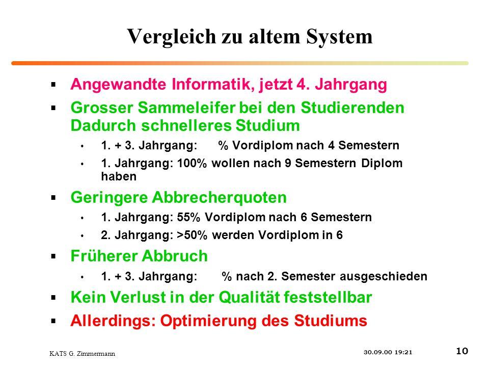 KATS G. Zimmermann 30.09.00 19:21 10 Vergleich zu altem System Angewandte Informatik, jetzt 4.