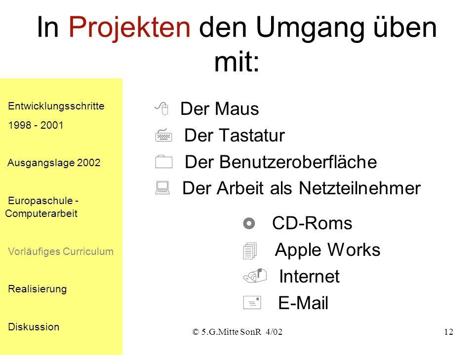 © 5.G.Mitte SonR 4/0211 Werkzeug Computer in der Europaschule Entwicklungsschritte 1998 - 2001 Ausgangslage 2002 Europaschule - Computerarbeit Vorläuf